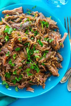 A simple classic. Slow Cooker Everything Beef is so versatile!