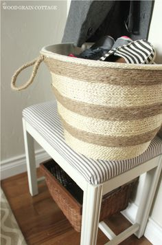knock off pottery barn basket from a plastic laundry basket!