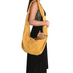 Pet Sling Carrier Yellow, Lsgoodcare Adjustable Reversible Pet Single Shoulder Bag for Small Medium Dogs Cats, Perfect for Outdoor and Travel, Soft and Comfortable Cotton Material *** Check this awesome product by going to the link at the image. (This is an affiliate link) #CatCarriersandStrollers