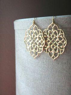 Gold Filigree Earrings, Large Filigree Earrings, Boho Chic Earrings, Filigree Dangle Earrings, Moroccan Earrings
