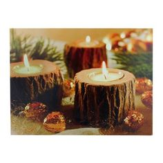 Felices Pascuas Collection LED Lighted Flickering Rustic Lodge Woodland Candles Canvas Wall Art inch x inch