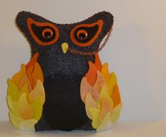 fire owl masculine plush orange yellow black art gift for a guy by DarkPicketFence, $22.00 http://www.etsy.com/shop/DarkPicketFence