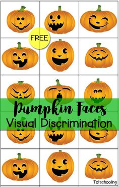 FREE printable jack-o-lantern matching activity perfect for Halloween or Fall. Toddlers and preschoolers will love matching the cute pumpkin faces!