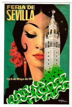 Feria de Sevilla, 1973 - aahh, this is that gorgeous picture I see everywhere when I go to Seville :) Beautiful! Retro Poster, Vintage Travel Posters, Vintage Postcards, Vintage Advertisements, Vintage Ads, Vintage Prints, Vintage Travel Wedding, Tourism Poster, Kunst Poster