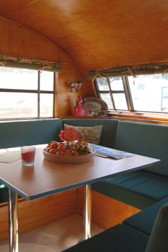 Beautiful Dining Area in 1951 Spartanette Tandem Travel Trailer