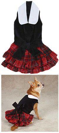 East Side Collection® Yuletide Tartan Velvet Dog Dress at The Animal Rescue Site