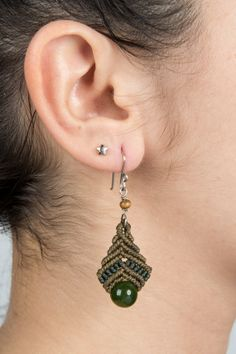Macrame earrings with Aventurine natural stone by Amonithe on Etsy, $13.00