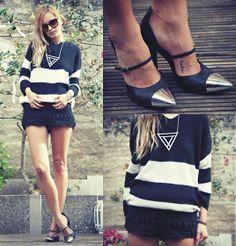 Black, White & Silver // Via lookbook.nu // Style by Daisy R. // Killer heels.
