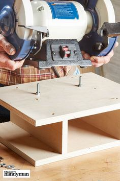 A bench grinder comes in handy for everything from sharpening tools to rounding over thread ends on a cutoff bolt. Bench Grinder Stand, Bad Room Ideas, Home Workshop, Garage Tools, Wood Router, Tool Sheds, Tool Storage, Garage Storage, Wood Tools