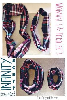 Flannel infinity scarf tutorial- pattern for women and girls.