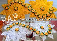 Diandra Arte em Crochê: PAP- TRILHO DE MESA RAIO DE SOL Crochet World, Crochet Home, Cute Crochet, Crochet Crafts, Crochet Projects, Knit Crochet, Crochet Doily Patterns, Lace Patterns, Thread Crochet