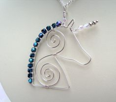Mythical Crystal Unicorn Wire Pendant Necklace