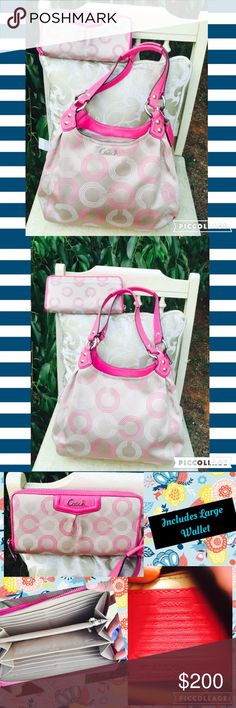 F21920 Ruby Pink Coach Purse & Wallet Optic C Set This is such a cute set!  Both pieces are in good condition.  The bag has 3 compartments, and the wallet fits neatly into any compartment.    These items are from a smoke and pet free home.  I'm a teacher and cleaning out this summer, so please check my closet.  I'm an avid collector that cleans out once every few years.  See Merc. Coach Bags Shoulder Bags