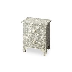 Oh you fancy, huh? This exotic night stand puts on quite a show with gray bone inlay that wraps around...