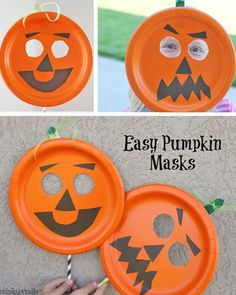 Make this fun and easy paper plate pumpkin mask with your kids this Halloween. What a fun Halloween kids craft! Pumpkin Mask Halloween, Halloween Masks Kids, Halloween Crafts To Sell, Preschool Halloween Party, Maske Halloween, Halloween Crafts For Toddlers, Kids Crafts, Halloween Paper Plate Crafts For Kids, Halloween Stuff