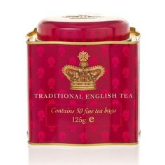 Buckingham Palace Traditional English Tea tin ... souvenir tin featuring royal crown design, in red and gold, c. 2010s / Royal Collection Trust Shop, UK