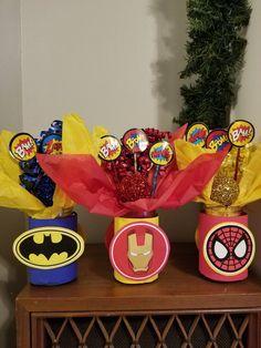 Custom Superhero Birthday Party Centerpiece (Listing for Superhero Birthday Party Decorations, C Superman Birthday Party, Avengers Birthday, 3rd Birthday Parties, Iron Man Party, Superhero Party Decorations, Birthday Party Centerpieces, Marvel Comics, Baby, Ideas