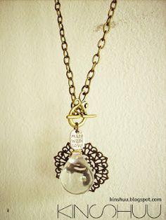 Necklace Big glass drop filigree - RM20