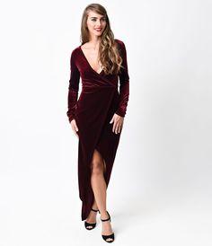 Love a long wrap dress:: 1930s Style Burgundy Velvet Maxi Wrap dress