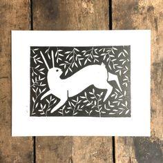 "The Diggingest Girl ""Rabbit Run Linoleum Print"" | Art Star"