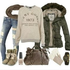 I love this whole outfit! Why can't I have it...love the jacket especially plus the skinny jeans and the sweater!