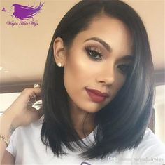 Silky Straight Peruvian Human Hair Lace front Wig Full Lace Wigs Cheap Short Human Hair Bob Wigs for Black Woman Online with $72.37/Piece on Virginhairwigs's Store | DHgate.com