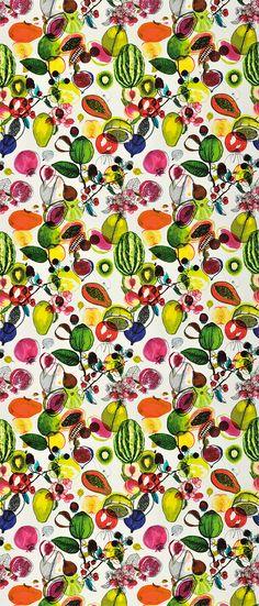 Nature psychedelique : Tissu Manaos Perroquet collection Nouveaux mondes, Christian Lacroix (Designer's guild). This would be amazing on the kitchen walls