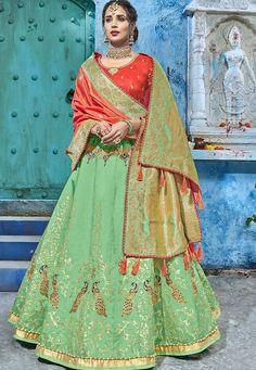 Green and red silk Indian wedding lehenga choli 1011 Indian Wedding Lehenga, Bridal Lehenga Choli, Indian Wedding Outfits, Indian Outfits, Indian Clothes, Indian Bridal, Banarasi Lehenga, Saree, Hand Embroidery Dress