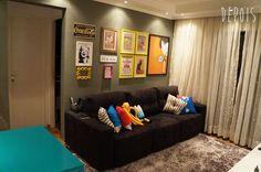 quarto de tv - Antes e depois - Decoração sala de estar moderna + vintage/retrô