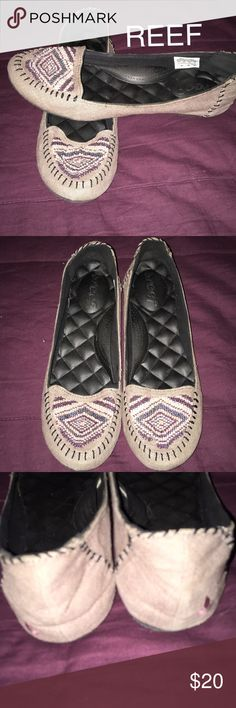 Cute Canvas Moccasins By Reef Size 10 These shoes are so cute. I love the beading. They are really comfortable. The only Wear is on the bottom soles. Just the mesh material is kind of peeled off. No wear down on heels or anything though. Reef Shoes Moccasins