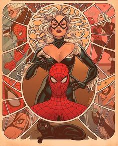 Joe Quinones Amazing Spiderman - Eroi Marvel in versione Art Nouveau Black Cat Marvel, Spiderman Black Cat, Spiderman Art, Marvel Fan Art, Marvel Heroes, Marvel Characters, Marvel Games, Comics Love, Comics Girls