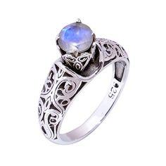 Natural Rainbow Moonstone Ring 925 Sterling Silver Wedding Engagement Ring Jewel #Handmade #Filigiri #Wedding