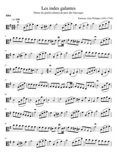Les Indes Galantes - La danse des Sauvages - Rameau - Viola solo