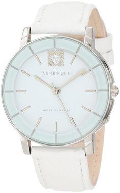 Anne Klein Women's AK/1059WTWT Leather Silver-Tone White Watch : Disclosure: Affiliate link