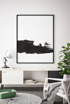 Black and White Print, Printable Minimalist, Black and White Wall Art, Brush Strokes Art, Minimal Wall Art, Abstract Poster, Bedroom Decor