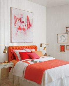 Coral Bedroom Decorating Ideas We love Bedroom and all the inspiring pics to realize some of your greatest home design. Get Coral Bedroom Decorating Ideas at News Home. White Bedroom, Dream Bedroom, Coral Bedroom, Master Bedroom, Tangerine Bedroom, Kids Bedroom, Bedroom Orange, Trendy Bedroom, Orange Rooms