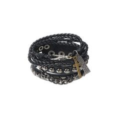 's Punk Multilayer Leather Bracelet (13 CAD) ❤ liked on Polyvore featuring jewelry, bracelets, black, punk rock jewelry, punk jewelry, layered jewelry, leather bangles and leather jewelry