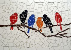 Birds meeting Unique handmade tiles mosaic by MosaicsDesign