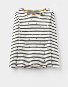 Joules - Joules Harbour Print Jersey Top - Caramel Bee Stripe -…
