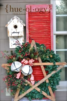 Rustic Christmas Porch Display...Hueology. Wreath by Olde Tyme Marketplace