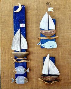 "233 Likes, 12 Comments - Bricioledimare (@armariannamaria) on Instagram: ""#barche #driftwood #driftwoodart #boats #painter #paintingstones #pebbleart #handmade #fineart…"""