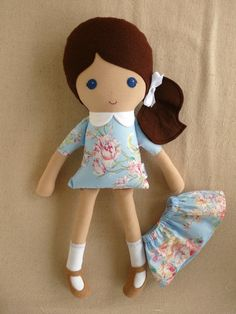 Reserved for Angie Fabric Doll Rag Doll Girl in by rovingovine
