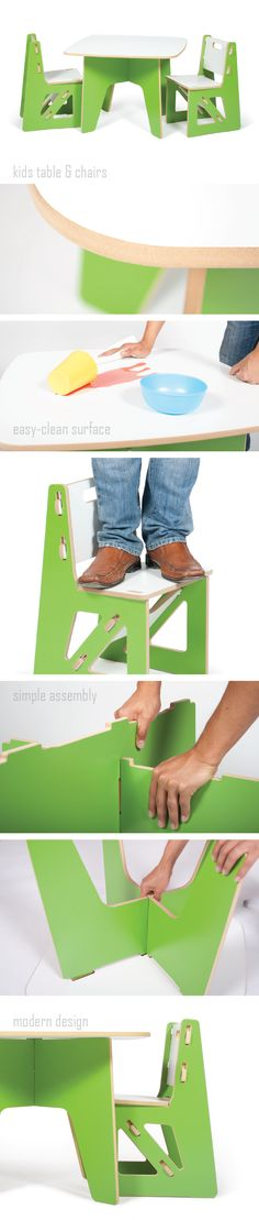 The most popular in our line of green playroom furniture, the green kids table and chairs folds out of the way when your not using it to make room for fort building, lego castles, or whatever comes next.