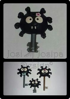 Spider Family - key covers polymer clay