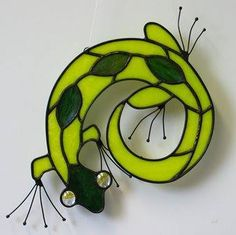 This special Yellow Gecko needs a home! Handmade Stained Glass by Gary & Linda Peterson; $30. www.genuinesouthwest.com