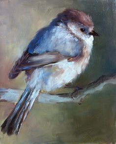 """Baby Chickadee"", Watercolour Painting by Shauna Finn, American Artist in Jersey City ...."