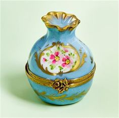 Limoges Turquoise and Rose Old Style Bag Box The Cottage Shop