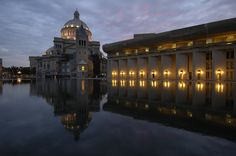 The Church & Reflecting Pool at dusk