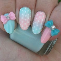 My girly polka dot cotton candy gradient ombre nails on my long natural stiletto almond nails
