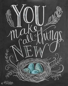 Items similar to Spring Art - Easter Print - Birds Nest - Robins Egg Blue Decor - Chalk Art - You Make All Things New - Feather Illustration - Scripture Art . Chalkboard Lettering, Chalkboard Designs, Chalkboard Ideas, Chalkboard Fridge, Chalkboard Drawings, Chalkboard Quotes, Kitchen Blackboard, Chalkboard Doodles, Blackboard Art